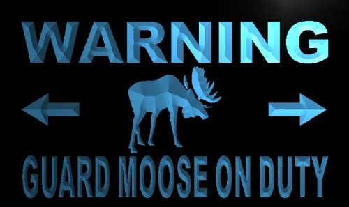 - Warning Guard Moose on Duty LED Sign Neon Light Sign Display m763-b(c)