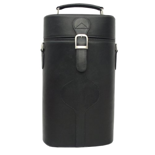 Piel Leather Double Deluxe Wine Carrier, Black, One ()