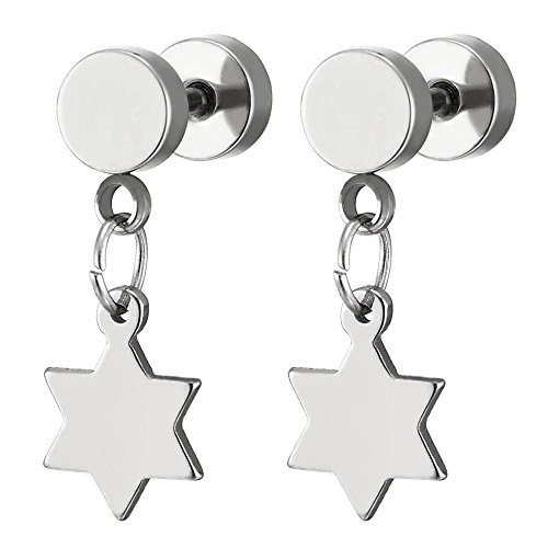 - Stainless Steel Circle Barbell Stud Earrings with Dangling Star of David for Men Women, Screw Back