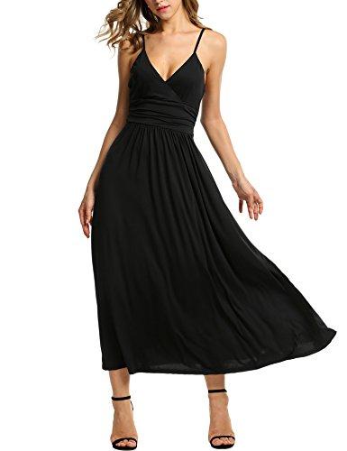 Meaneor Vestido para Mujer V cuello Larga Solido Casual de Fiesta Perfecta Negro