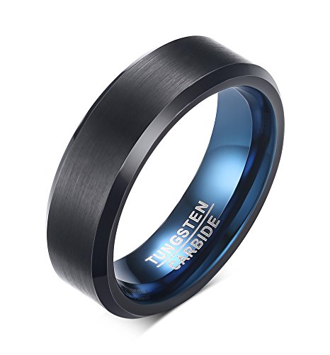 MP 6mm Men's Personalized Black Tungsten Carbide Band Ring Blue Inside Beveled Edges Customized (Black Date Ring)
