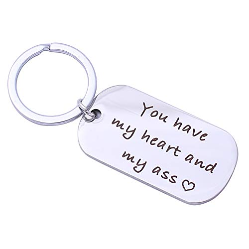 You have my heart and my ass key chain, boyfriend's gift, key ring, wife, husband's gift