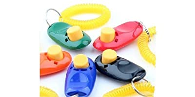 Big Button clicker with wrist band for Clicker training - click and train dog, cat, horse, pets by Pet Supply City