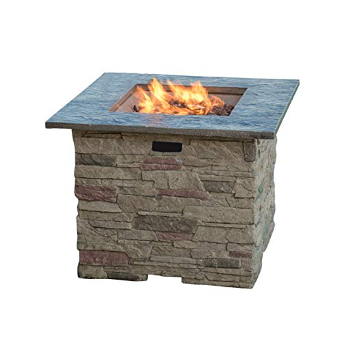 Great Deal Furniture Rogers Outdoor Square Stone Fire Pit Table, 32-Inch Propane Gas Patio Heater with Natural Stone