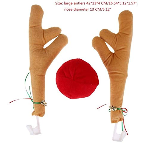 Laz-Tipa - Reindeer Christmas Decor Car Vehicle Nose Horn Costume Set Rudolf Christmas Reindeer Antlers Red Nose Ornaments -