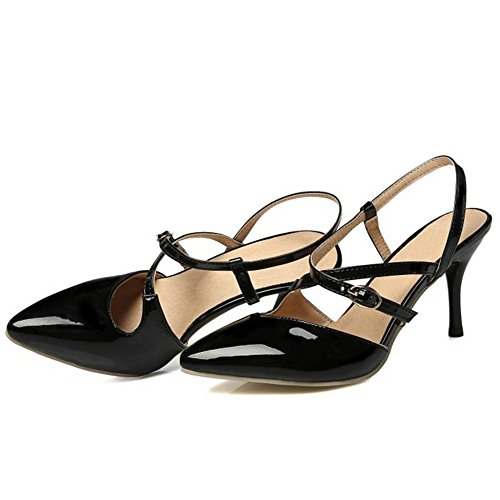 Stiletto Slingback Cross US 4 Shoes Smilice 1 Size Closed Women Black Shoes Strap Buckle Sexy Toe Sandals Colors 13 xqw1REY1