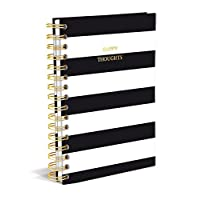 "Graphique Classic Charm Hard Cover Journal w/ Elegant Black and White Stripes & ""Happy Thoughts"" in Embellished Gold Foil Across the Cover, 160 Ruled Pages, 6.25"" x 8.25"" x 1"""