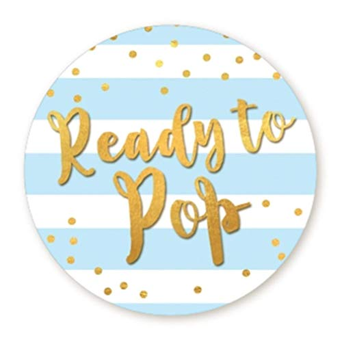 (Ready to Pop Stickers | Faux Metallic Gold | Many Sizes & Colors to Choose from | Ready To Pop Baby Shower Stickers for Popcorn | Ready to Pop Stickers for a Boy or Girl (Blue, 1.67