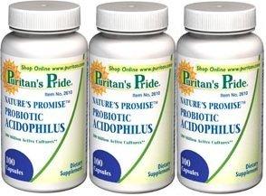 Puritains fierté Natures Promise probiotique acidophilus 100 Caps Pack 3