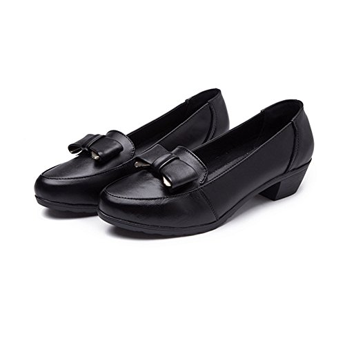 T-JULY Womens Loafers Shoes - Bowknot Casual Slip On Round Toe Mid Heel Brogue Fashion Penny 2Vkg0