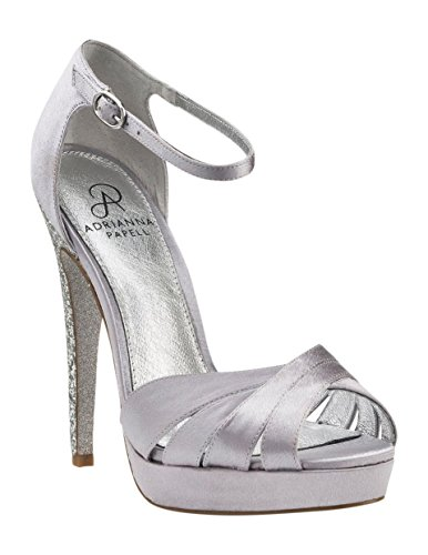 Adrianna Papell Women's Samoa Dress Pump, Silver Satin, Size 7 B(M)