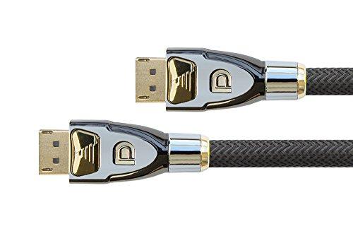 PYTHON® Series PREMIUM DisplayPort 1.2 Anschlusskabel - 4K2K / UHD / Ultra HD - 3-fach Schirmung, Vollmetallstecker, vergoldete Stecker inkl. Verriegelungsschutz - Kupferleiter (OFC), 3D-Unterstützung, Datenrate: 21,6 Gbit/s, Nylongeflecht - schwarz, 3m