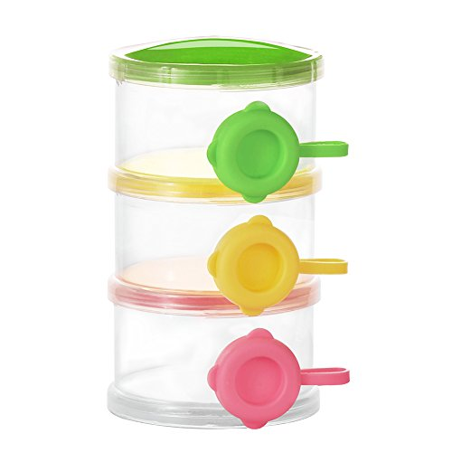 Accmor 3 Layers Baby Milk Powder Formual Dispenser, Baby Feeding Travel Storage Container, Non-Spill Stackable Snack Storage Container, BPA Free from accmor