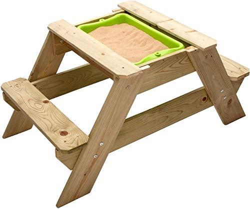 Tp Toys Sand und Wassertisch Holz - Matschtisch Holz  - Picknicktisch mit Sandkasten