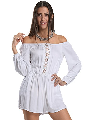 Choies Womens Shoulder Embroidery Playsuit