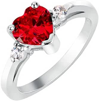 Heart Simulated Ruby Cubic Zirconia Ring Sterling Silver 925 (Sizes 3-15)