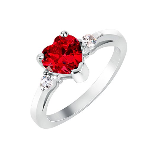 Simulated Ruby Cocktail Ring (Simulated Ruby Cubic Zirconia Heart Promise Ring Sterling Silver Size 14)