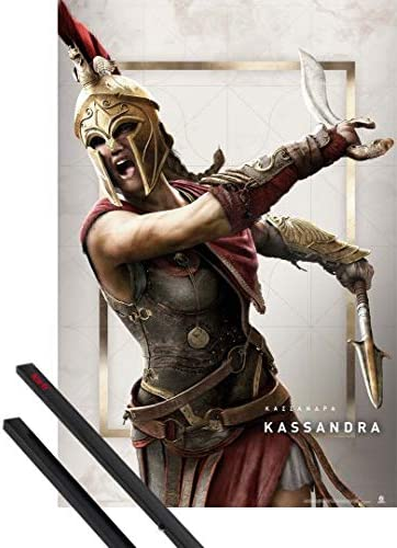 Amazon Com 1art1 Assassin S Creed Poster 36x24 Inches Odyssey Kassandra And 1 Set Of Black Poster Hangers Kitchen Dining
