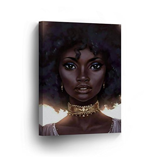 SmileArtDesign Beautiful Face African Woman Hot Brown Eyes Modern Art Canvas Print Afro HairDecorive Wall Art African Art Home Decor Stretched Ready to Hang -%100 Handmade in The USA - - Fabric Framed Art