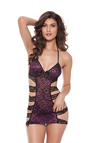 Sexinn Womens Hollow Stripe Sexy Lingerie with G string Purple (Slutty Sailor)
