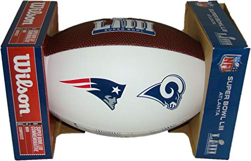 Super Bowl LIII (53) Composite Autograph Dueling Mini Football with Rams vs. Patriots Logos