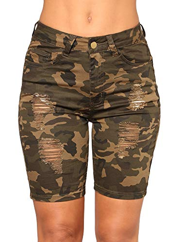 chimikeey Women's High Waisted Camouflage Distressed Strench Denim Shorts Knee Length Bermuda Jeans ()