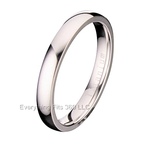 3mm Polished Comfort Fit Titanium Wedding Ring Band Size 6