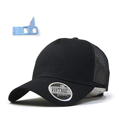 Vintage Year Plain Cotton Twill Mesh Adjustable Snapback Trucker Baseball Cap (Black) Cotton Twill Mesh Cap