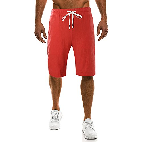 Nevera Men Summer Short Pants Solid Beach Casual Drawstring Elastic Waist Classic Fit Shorts Red