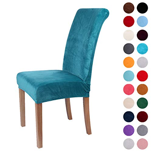 Colorxy Velvet Spandex Fabric Stretch Dining Room Chair Slipcovers Home Decor Set of 4, Peacock Green