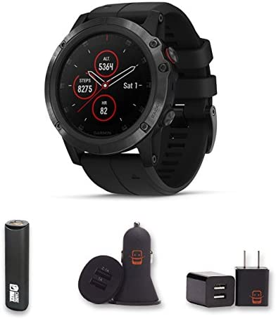 Garmin Fenix 5X Plus – Sapphire, Black Black Band Bundle with PowerBank USB Car Charger USB Wall Charger 4 Items