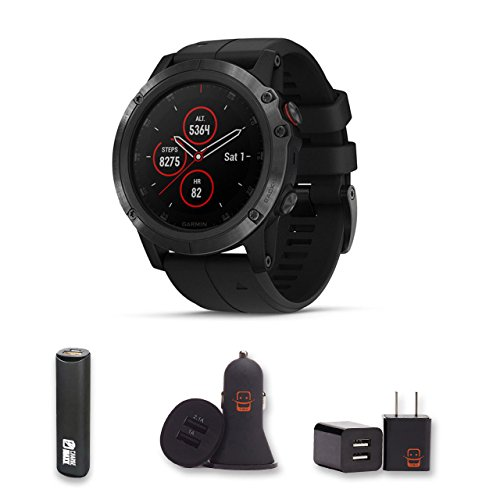 Garmin Fenix 5X Plus - Sapphire, (Black/Black Band) + PowerBank + USB Car Charger + USB Wall Charger, EZEE Bundle