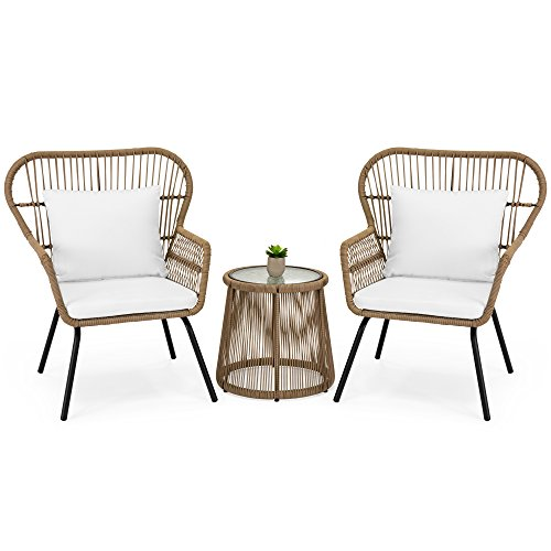 Modern Patio Furniture - Best Choice Products 3-Piece Outdoor All-Weather Wicker Conversation Bistro Furniture Set for Patio, Garden, Backyard w/ 2 Chairs, Glass Top Side Table, Weather-Resistant Seat & Back Cushions - Tan