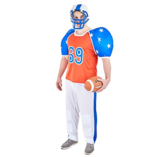 Charm Rainbow Men's Football Player Costume Fancy Dress for Halloween Theme Party(XL) -