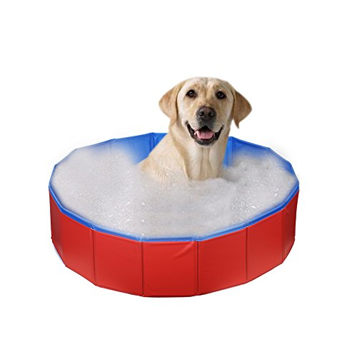 ZUINIUBI Pets Bathtub-Foldable PVC Dogs Kids Water Pool-Portable Cats Shower Bathing Tub-Leakproof Indoor & Outdoor Swimming Playing Pond (32 Inch X 8 Inch)