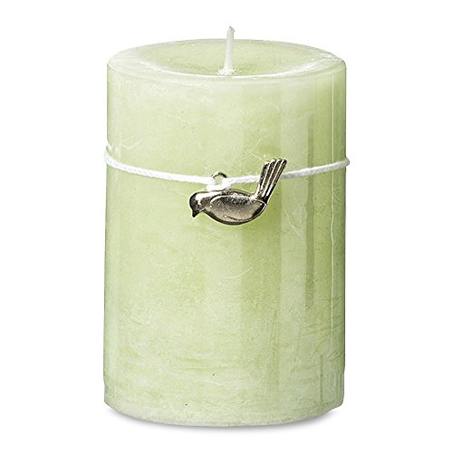 Whole House Worlds The Shades Of Green Bird Charm Candle, Pale Green, 55 hours burn time, 4 H x 2 ¾ D Inches, (H10 D7cm), Wax, 100% Cotton Wick, (Country Transitional Five Light)