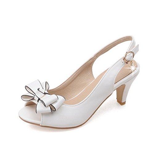 AllhqFashion Mujeres Hebilla Tacón Lazos Blanco con vestir Sandalias de Sólido ancho Peep 77wq1Ord