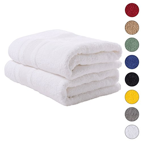 2 PACK Bath Towels Set | Premium Quality Luxury Turkish Cotton Absorbent AND Super Soft – WHITE