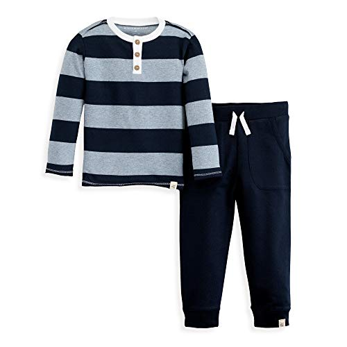 (Burt's Bees Baby Boys' Toddler Top and Pant Set, Tee and Joggers Outfit, 100% Organic Cotton, Navy Rugby Stripe Tee & Jogger,)