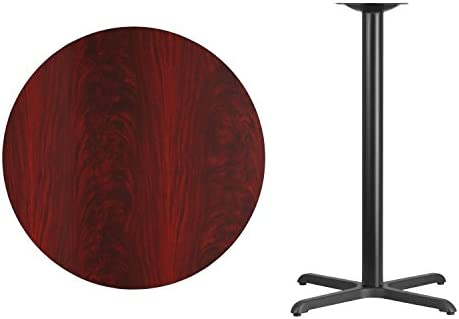 Flash Furniture 36 Round Mahogany Laminate Table Top with 30 x 30 Bar Height Table Base