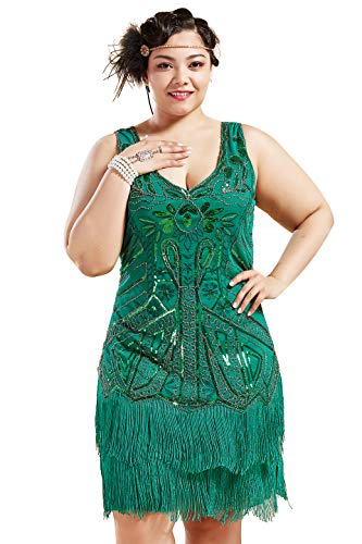 BABEYOND Women's Plus Size Flapper Dresses 1920s V Neck Beaded Fringed Great Gatsby Dress (Green, 1X Plus) -