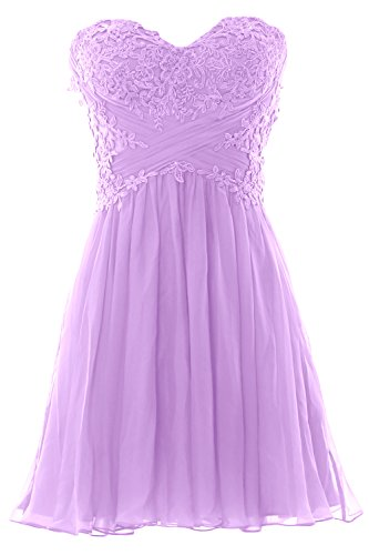 Women Lavendel Party Dress Chiffon Strapless Formal Lace Prom Mini Cocktail MACloth Gown dgwqUpd