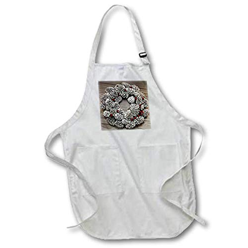 3dRose Stamp City - Holiday - Photograph of a Frosted Pinecone and Berry Wreath Hanging on Wood Wall - Black Full Length Apron with Pockets 22w x 30l (apr_304392_4) ()