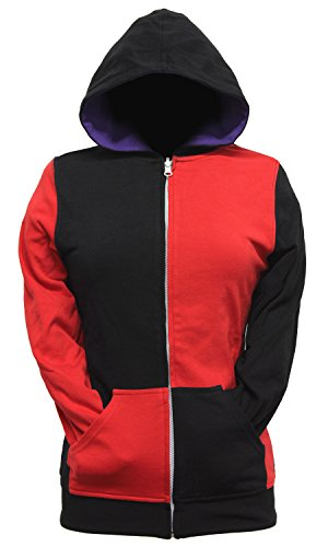 DC Comics Harley Quinn Joker Juniors Reversible Zip Up Hoodie (Small)