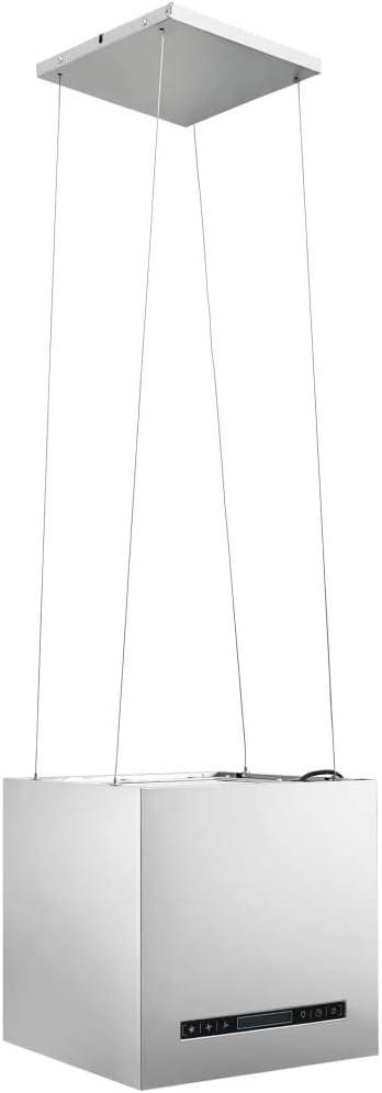 Campana extractora de isla 530 m³ / h Acero inoxidable Pantalla LED Campanas extractoras con control táctil Plata, Extractor de isla