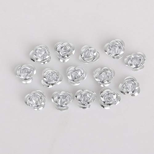 Utini New Approx 300pcs Rose Flower Aluminum Jewelry Findings Spacer Beads for DIY Fashion Bracelet Necklace Making Creative Crafts - (Color: Silver, Size: 8mm)