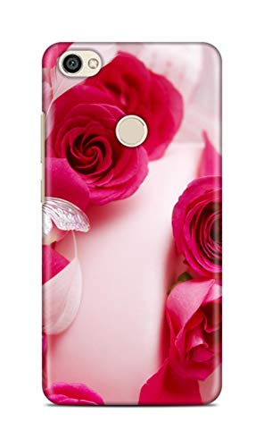 Shengshou Rose Design Mobile Back Cover for Mi Redmi Note 5A Prime   Pink White