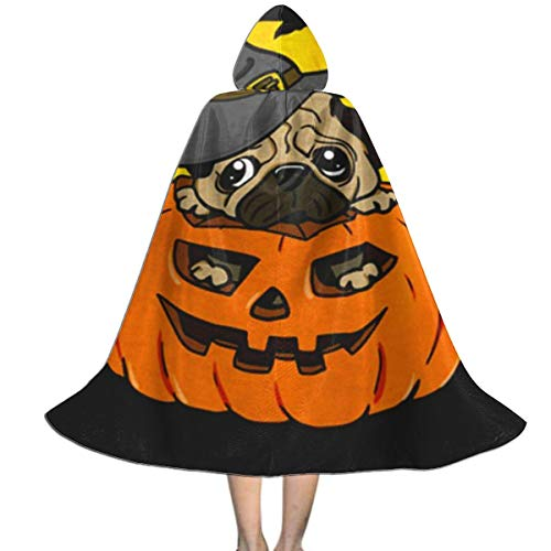 Pics Of Pugs In Halloween Costumes (Unisex Halloween Pug Hooded Cloak Long Cape for Cosplay Costumes for Kids)
