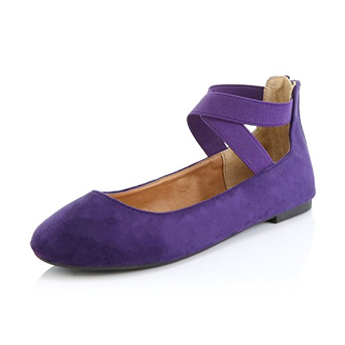DailyShoes Women's Classic Flats Comfortable Criss Cross Elastic Band Round Flat Slip-On Loafer Sneaker Shoes-Ideal for Casual Occasions Walker-05 Purple SV9 -