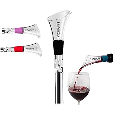 3-in-1 Wine Aerator Pourer Chiller Stick by PICHIGIFT — Stainless Steel Aerating Wine Pourer — Decanter Spout for Red & White Wine — Infuses Wine w/Oxygen — Wine Enhancer — Optimal Temperature (Black)